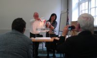 Keiko Mukaide and Ronnie Watt demonstrating the maquette for 'Transporter' at the design stage